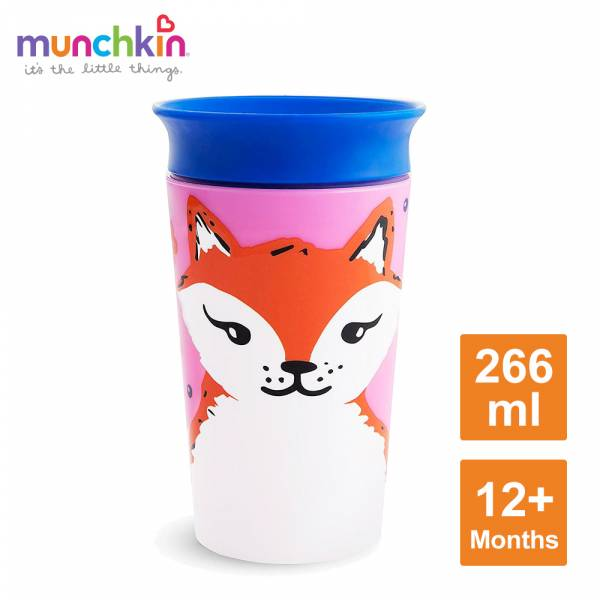 munchkin滿趣健-360度繽紛防漏杯266ml-狐狸 水杯 訓練杯 喝水 幼童 動物