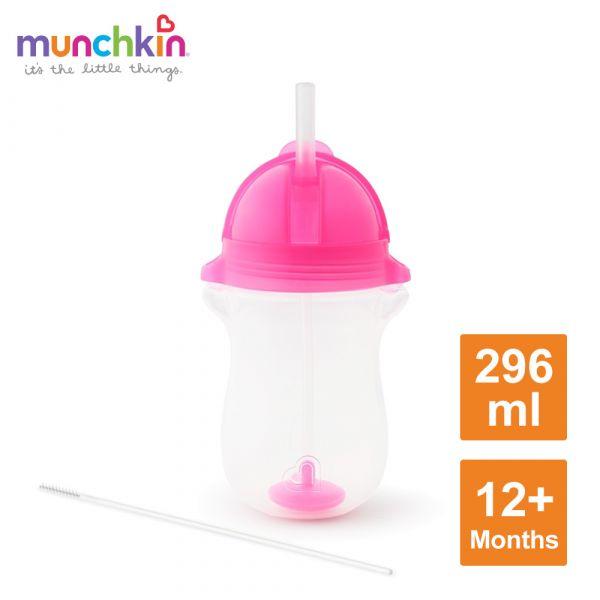 munchkin滿趣健-貼心鎖滑蓋防漏杯(360度吸管)296ml-粉 水杯 訓練杯 喝水 幼童 運動