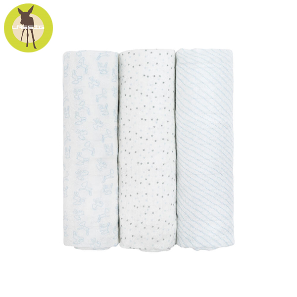 德國LASSIG-超柔手感竹纖維嬰兒包巾毯3入-水藍點點 涼感巾,德國lassig