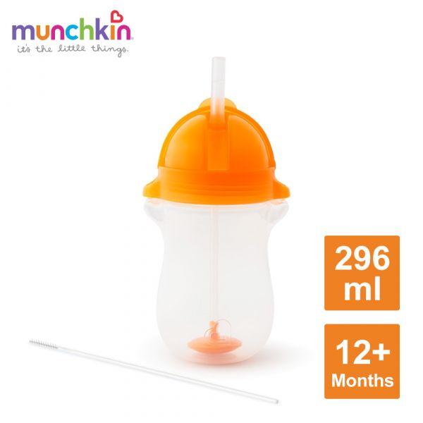 munchkin滿趣健-貼心鎖滑蓋防漏杯(360度吸管)296ml-橘 水杯 訓練杯 喝水 幼童 運動