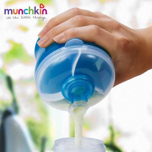 munchkin滿趣健-三格奶粉分裝盒-藍 幼童 餵食 吸盤碗 不倒