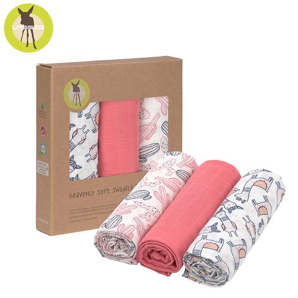 德國LASSIG-超柔手感竹纖維嬰兒包巾毯3入-羊駝粉 涼感巾,德國lassig