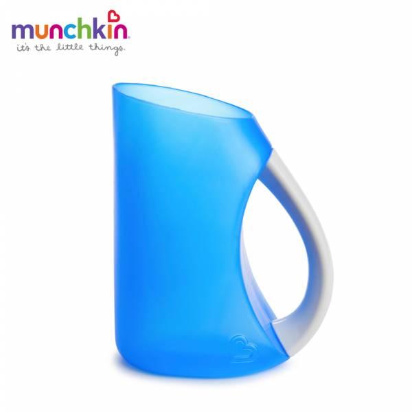 munchkin滿趣健-寶寶洗頭不哭軟式水瓢-藍 幼童 餵食 吸盤碗 不倒