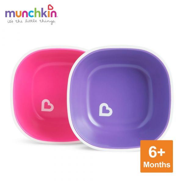 munchkin滿趣健-防滑碗2入-粉/紫 幼童 餵食 吸盤碗 不倒