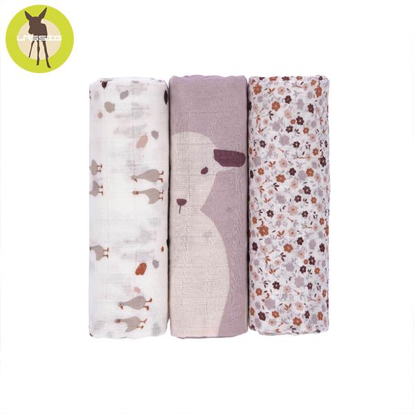 德國LASSIG-超柔手感竹纖維嬰兒包巾毯3入-花繪羊羊 涼感巾,德國lassig