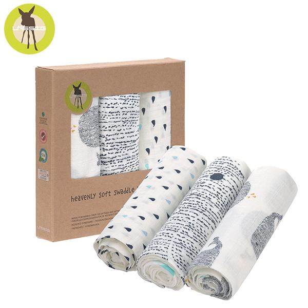 德國LASSIG-超柔手感竹纖維嬰兒包巾毯3入-鯨魚 涼感巾,德國lassig