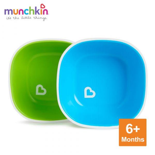munchkin滿趣健-防滑碗2入-綠/藍 幼童 餵食 吸盤碗 不倒