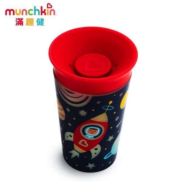 munchkin滿趣健-360度繽紛夜光防漏杯266ml-紅 水杯 訓練杯 喝水 幼童 運動