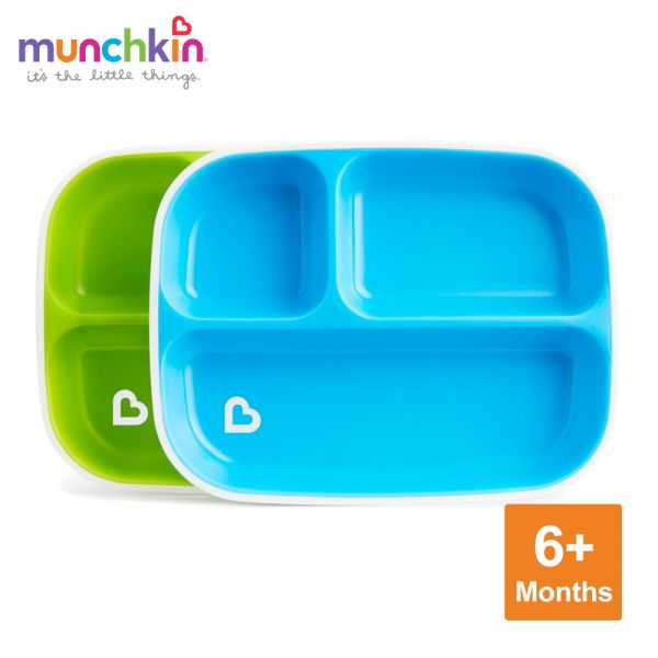 munchkin滿趣健-防滑三格餐盤2入-綠/藍 幼童 餵食 吸盤碗 不倒