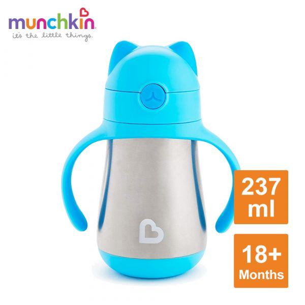 munchkin滿趣健-喵喵不鏽鋼保溫吸管練習杯237ml-藍 水杯 訓練杯 喝水 幼童 運動