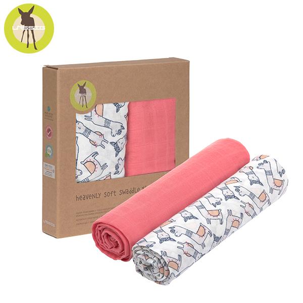 德國LASSIG-超柔手感竹纖維嬰兒包巾毯2入-羊駝粉 涼感巾,德國lassig