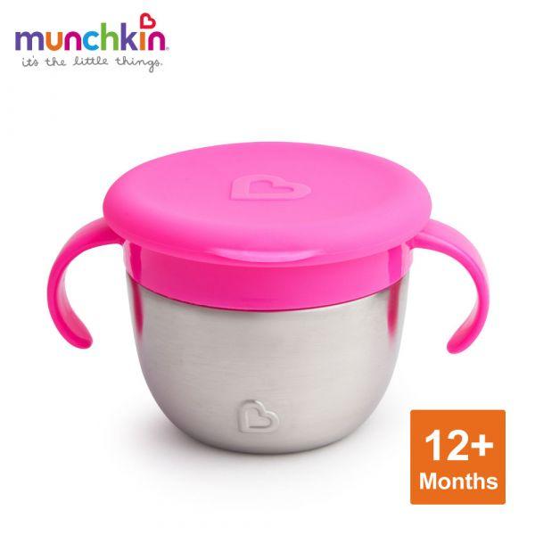 munchkin滿趣健-豪華不鏽鋼防漏零食杯-粉 幼童 餵食 吸盤碗 不倒