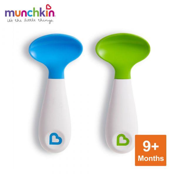 munchkin滿趣健-左右手幼兒學習湯匙2入-藍/綠 幼童 餵食 吸盤碗 不倒
