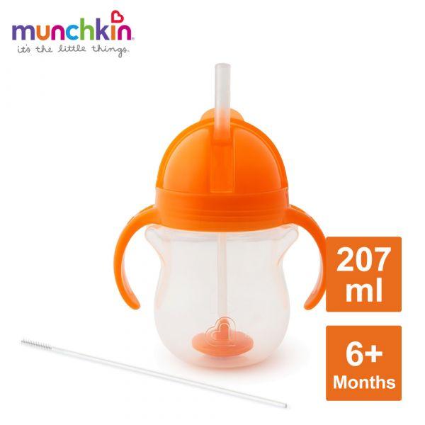munchkin滿趣健-貼心鎖滑蓋防漏杯(360度吸管)207ml-橘 水杯 訓練杯 喝水 幼童 運動