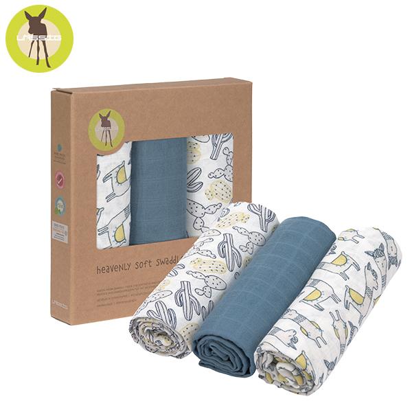德國LASSIG-超柔手感竹纖維嬰兒包巾毯3入-羊駝藍 涼感巾,德國lassig