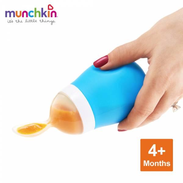 munchkin滿趣健-擠壓式餵食湯匙-藍 幼童 餵食 吸盤碗 不倒