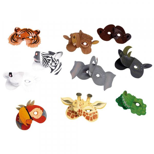 【JAKO-O】DIY手作-野生動物面具組(10入) 手作,創作,兒童勞作,