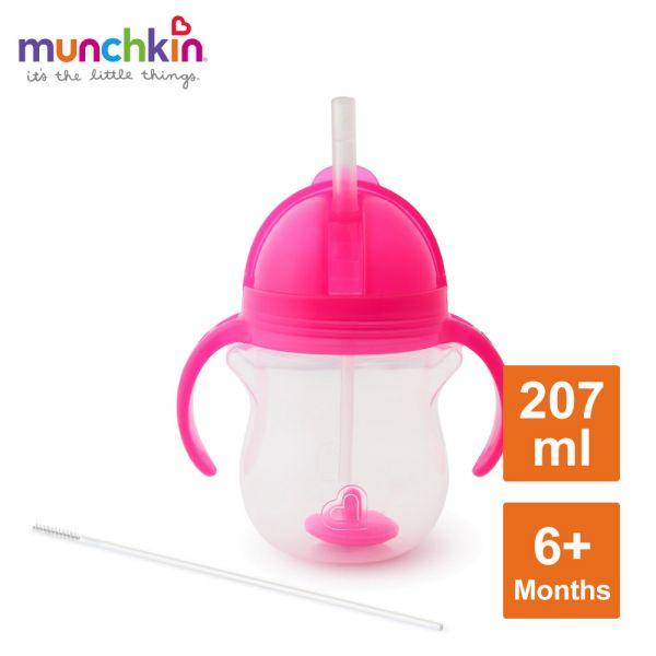 munchkin滿趣健-貼心鎖滑蓋防漏杯(360度吸管)207ml-粉 水杯 訓練杯 喝水 幼童 運動