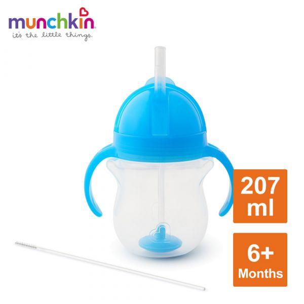 munchkin滿趣健-貼心鎖滑蓋防漏杯(360度吸管)207ml-藍 水杯 訓練杯 喝水 幼童 運動