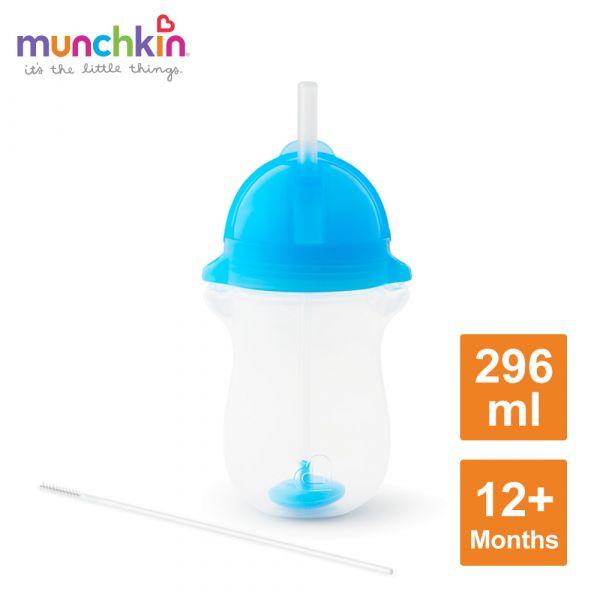 munchkin滿趣健-貼心鎖滑蓋防漏杯(360度吸管)296ml-藍 水杯 訓練杯 喝水 幼童 運動