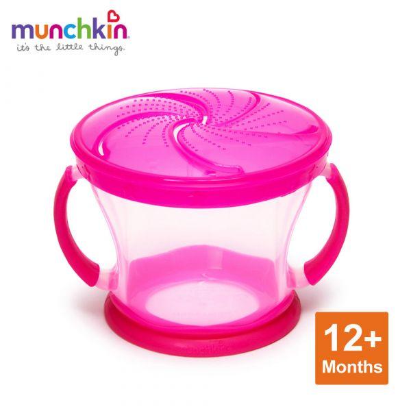 munchkin滿趣健-防漏零食杯-粉 幼童 餵食 吸盤碗 不倒