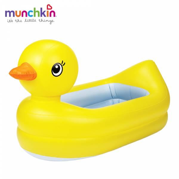 munchkin滿趣健-充氣式感溫鴨子造型浴盆 幼童 餵食 吸盤碗 不倒