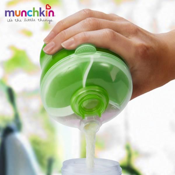 munchkin滿趣健-三格奶粉分裝盒-綠 幼童 餵食 吸盤碗 不倒