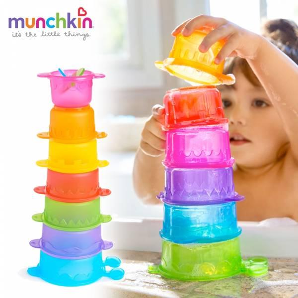 munchkin滿趣健-毛毛蟲疊疊樂洗澡玩具 幼童 玩水 安全 戲水 游泳
