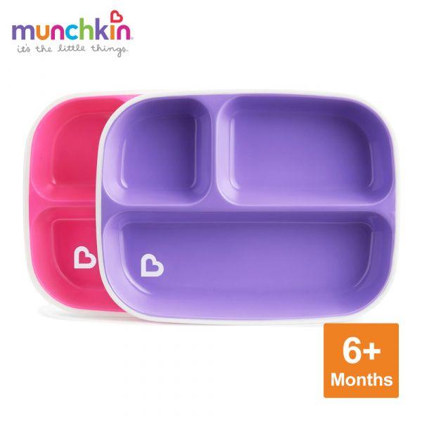 munchkin滿趣健-防滑三格餐盤2入-粉/紫 幼童 餵食 吸盤碗 不倒