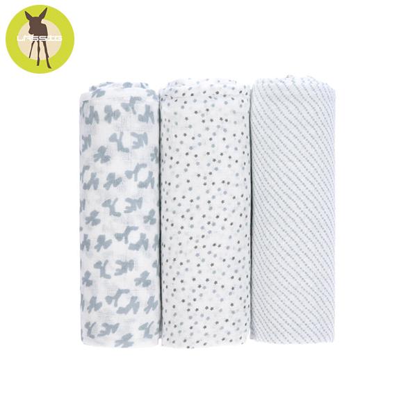 德國LASSIG-超柔手感竹纖維嬰兒包巾毯3入-淺灰點點 涼感巾,德國lassig