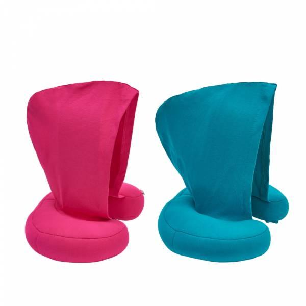 【JAKO-O】 兒童連帽頸枕(桃紅/土耳其藍) 車上枕,抱枕,頸枕