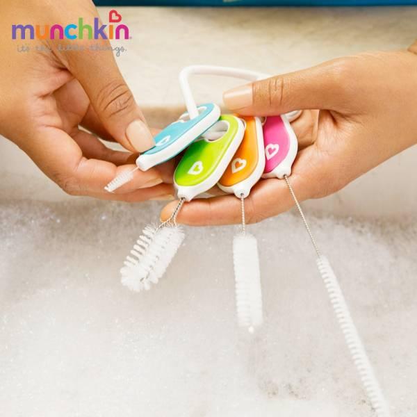 munchkin滿趣健-繽紛吸管配件清潔刷組 幼童 餵食 吸盤碗 不倒
