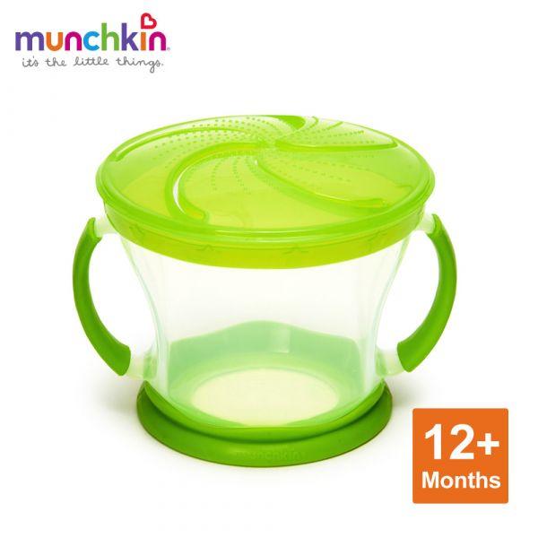 munchkin滿趣健-防漏零食杯-綠 幼童 餵食 吸盤碗 不倒