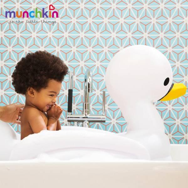 munchkin滿趣健-充氣式感溫天鵝造型浴盆 幼童 餵食 吸盤碗 不倒