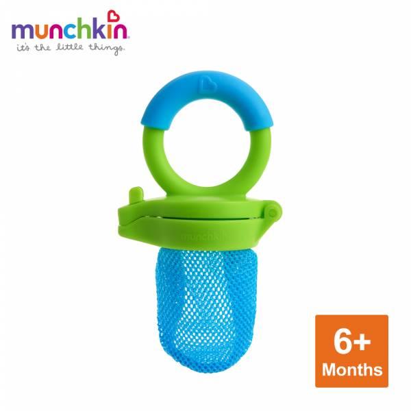 munchkin滿趣健-新鮮食物咬咬訓練器-藍 幼童 餵食 吸盤碗 不倒