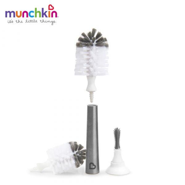 munchkin滿趣健-不鏽鋼奶瓶奶嘴刷+替換刷頭 幼童 餵食 吸盤碗 不倒
