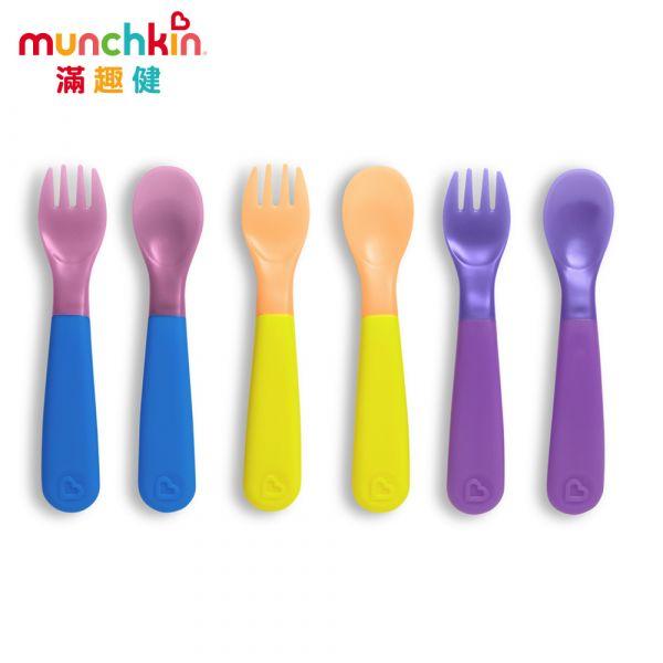 munchkin滿趣健-冷熱感溫安全湯叉6入 幼童 餵食 吸盤碗 不倒
