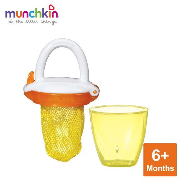 munchkin滿趣健-豪華新鮮食物咬咬訓練器-黃 幼童 餵食 吸盤碗 不倒