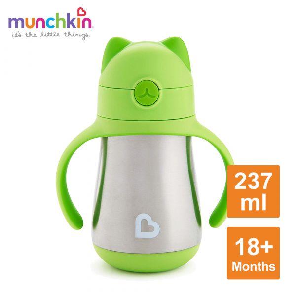 munchkin滿趣健-喵喵不鏽鋼保溫吸管練習杯237ml-綠 水杯 訓練杯 喝水 幼童 運動