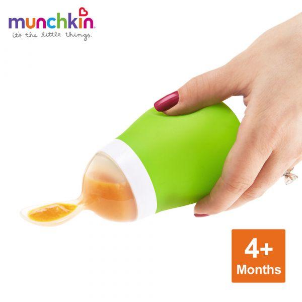 munchkin滿趣健-擠壓式餵食湯匙-綠 幼童 餵食 吸盤碗 不倒