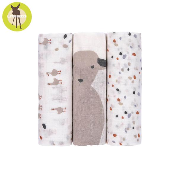 德國LASSIG-超柔手感竹纖維嬰兒包巾毯3入-彩點羊羊 涼感巾,德國lassig