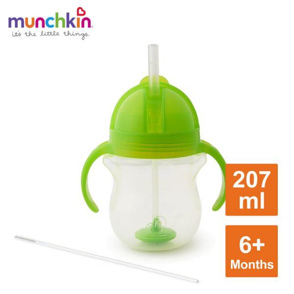 munchkin滿趣健-貼心鎖滑蓋防漏杯(360度吸管)207ml-綠 水杯 訓練杯 喝水 幼童 運動