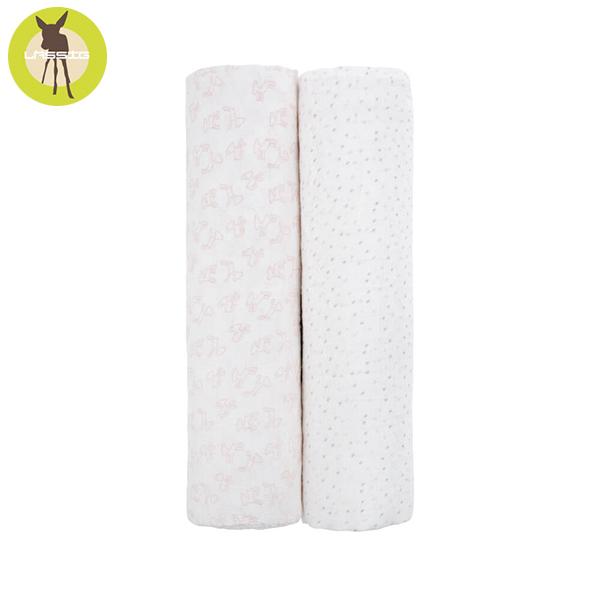 德國LASSIG-超柔手感竹纖維嬰兒包巾毯2入-粉紅點點 涼感巾,德國lassig