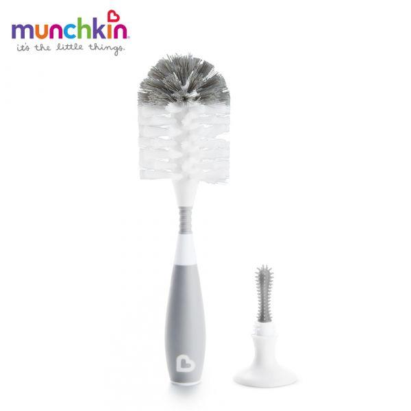 munchkin滿趣健-二合一奶瓶奶嘴刷(吸盤)-灰 幼童 餵食 吸盤碗 不倒