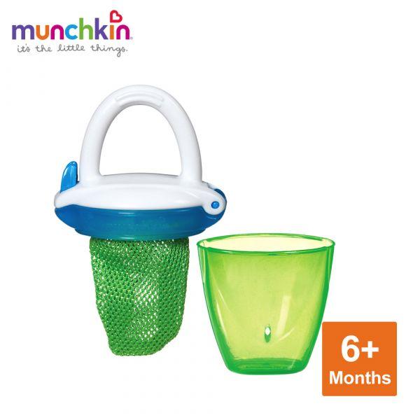 munchkin滿趣健-豪華新鮮食物咬咬訓練器-綠 幼童 餵食 吸盤碗 不倒