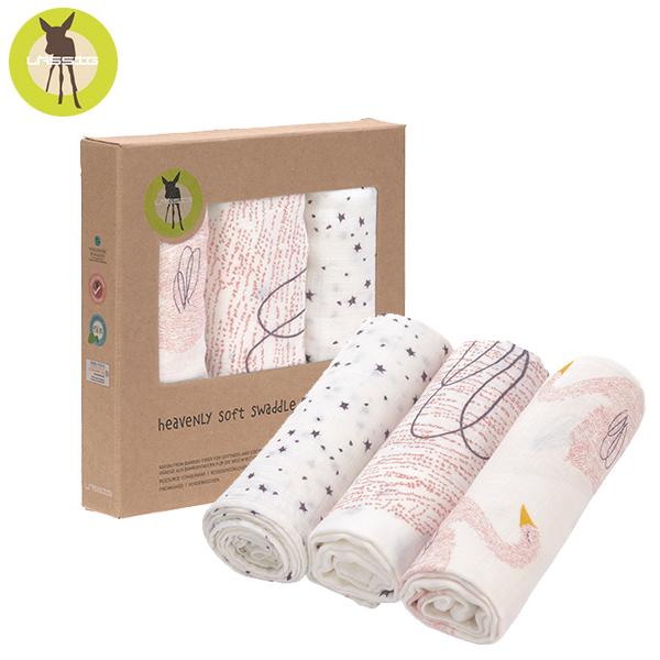 德國LASSIG-超柔手感竹纖維嬰兒包巾毯3入-天鵝 涼感巾,德國lassig