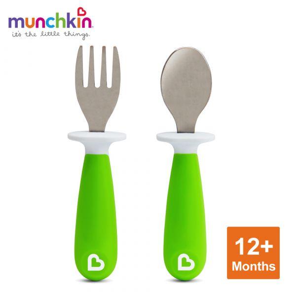 munchkin滿趣健-不鏽鋼學習叉匙組-綠 幼童 餵食 吸盤碗 不倒