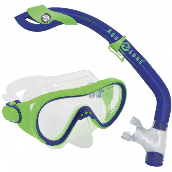 【JAKO-O】Aqua Lung浮潛面鏡組-綠 兒童浮潛,蛙鏡,游泳