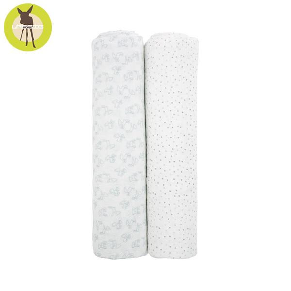德國LASSIG-超柔手感竹纖維嬰兒包巾毯2入-淺灰點點 涼感巾,德國lassig