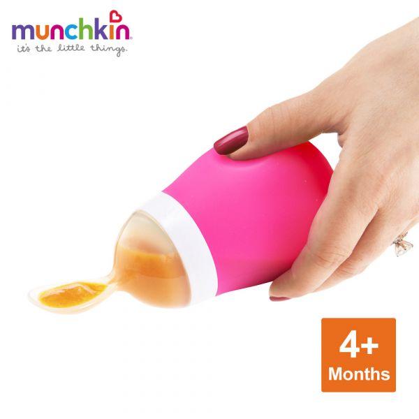 munchkin滿趣健-擠壓式餵食湯匙-粉 幼童 餵食 吸盤碗 不倒